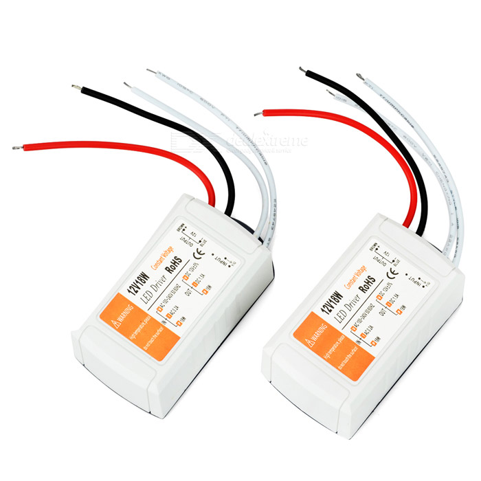 18W 1.5A LED Transformers - White (AC 100~240V / DC 12V, 2PCS)