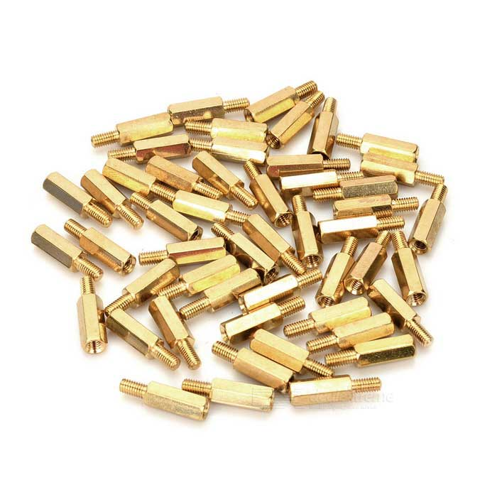 12+6mm M3 Hex Brass Standoff Screw Pillars for PCB - Golden (50 PCS)