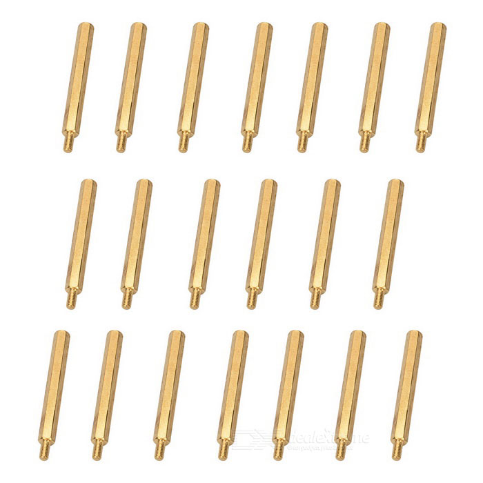 M3 40+6mm Brass Hex Standoff Screws Pillars w/ External + Internal Thread - Golden (20 PCS)