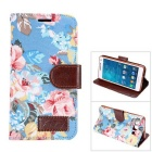 MO.MAT Flowers Printing PU Leather Wallet Case w/ Card Slot / Stand for Samsung Galaxy A5 - Blue
