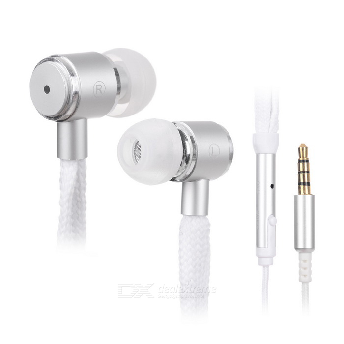 3.5mm Plug Shoelace Style In-Ear Earphone w/ Mic for Samsung - White