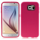 ENKAY Grid Pattern Protective TPU Back Case Cover for Samsung Galaxy S6 G9200 - Deep Pink