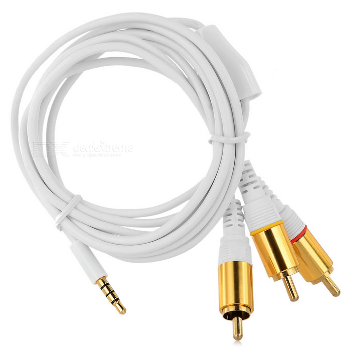 3.5mm TRRS Plug to 3-RCA Male Audio Cable - White + Golden (150cm)