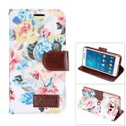 MO.MAT Flowers Printing PU Leather Wallet Case w/ Card Slot / Stand for Samsung Galaxy A5 - White