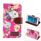 MO.MAT Flower Printing PU Leather Wallet Case w/ Card Slot / Stand for Samsung Galaxy A5 - Deep Pink