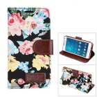 MO.MAT Flowers Printing PU Leather Wallet Case w/ Card Slot / Stand for Samsung Galaxy A5 - Black