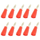 Jtron 4mm Nickel-Plated Speaker Banana Plugs Test Probe Binding Post - Red (10PCS)