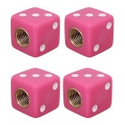 MZ Universal 8mm Dice Car Plastic Tire Valve Caps - Deep Pink (4PCS)