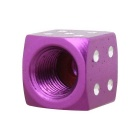 MZ 8mm Dice Car Aluminium Alloy Tire Valve Caps - Purple (4PCS)