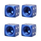 MZ 8mm Dice Car Aluminium Alloy Tire Valve Caps - Blue (4PCS)