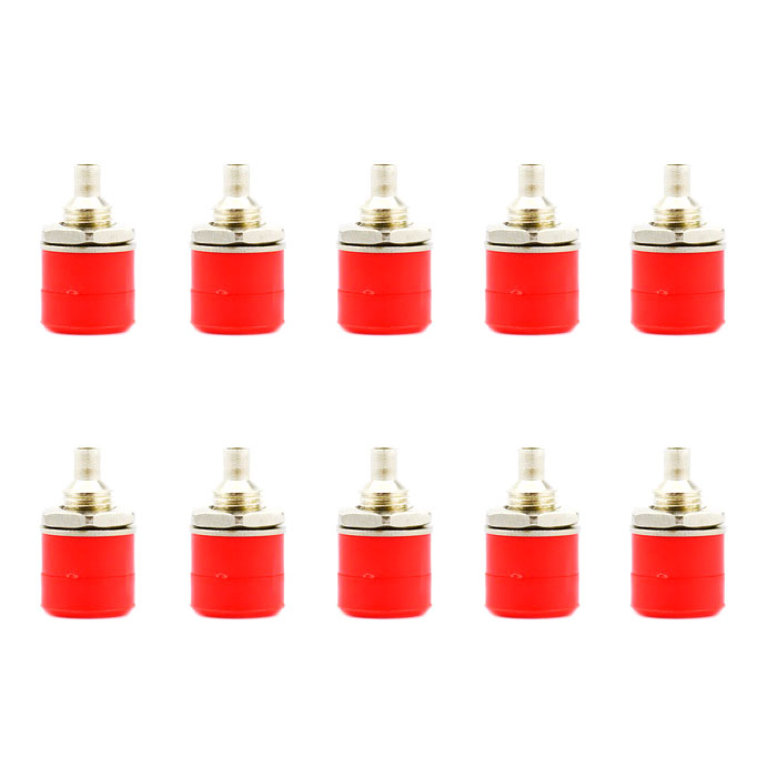 Jtron Nickel Plating Female Banana Socket Connector for 4mm Banana Plug Test Cable - Red (10PCS)
