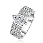 Stylish Rhinestone-studded Zircon Inlaid Silver-plated Brass Ring - Silver (US Size 8)