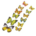 PVC 3D Simulation Butterfly Wall Stickers Art Decals - Yellow (12 PCS)