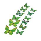 PVC 3D Simulation Butterfly Wall Stickers Art Decals - Green + Multicolored (12 PCS)