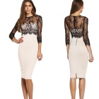 Women's Vintage Sexy Party Casual Stretchy Lace Long Sleeve Fit Wrap Dress - Black + White (XL)