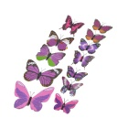 PVC 3D Simulation Butterfly Wall Stickers Art Decals - Purple + Multi-Colored (12 PCS)