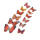 PVC 3D Simulation Butterfly Wall Stickers Art Decals - Red + Multi-Colored (12 PCS)
