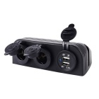 DIY Waterproof 12~24V Dual USB Car Charger Adapter + Dual Cigarette Lighter Sockets - Black