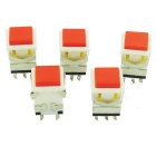 6-Pin Self-locking Straight Key Switches - White + Red (5 PCS)