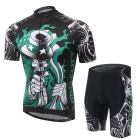 XINTOWN Outdoor Cycling Polyester + Spandex Short-sleeved Jersey + Shorts Set - Black + Green (XXL)