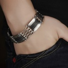 Men's Hollow-out Stainless Steel Bracelet Bangle - Black + Silver