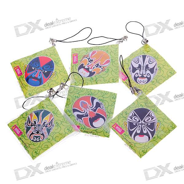 Naughty Cell Phone Charm Strap with 1 Hidden Condom - Beijing Opera Mask (Color Assorted) charming cell phone straps with activity led 10 pack assorted