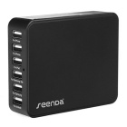 Seenda 33W 6-Port 5V 6.5A Smart USB Charger for Smart Phone Tablet PC - Black (US Plug)