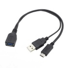CY USB-C USB 3.1 Type-C to A Female OTG Cable w/ Power - Black (20cm)