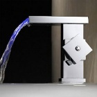 YDL-LK1017 Contemporary Color Changing LED Waterfall Bathroom Sink Faucet - Silver