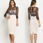 Women's Vintage Sexy Party Casual Stretchy Lace Long Sleeve Fit Wrap Dress - Black + White (L)