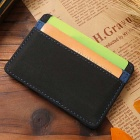 Casual Style PU Leather Money Card Wallet Purse - Black + Purple
