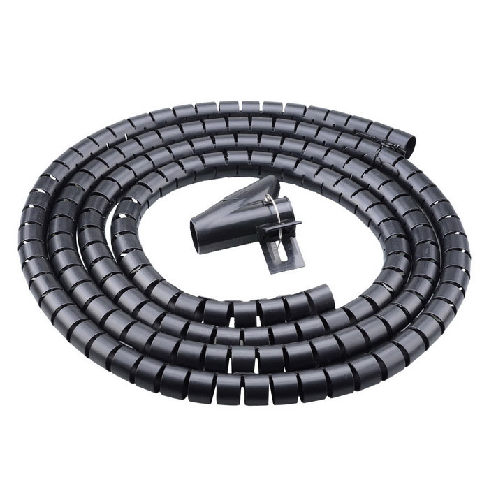 PE Cable Wire Spiral Tidy Wrap with Clip Organizer - Black (250cm)