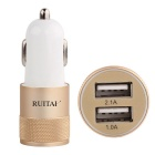 RUITAI Dual High-Speed USB Port Car Charger - Gold + White