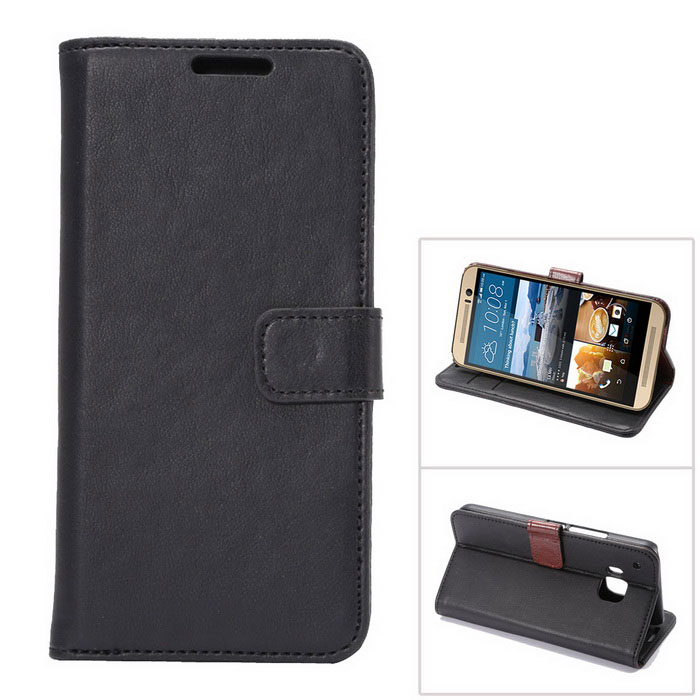 MO.MAT Luxury PU Wallet Case w/ Card Slot / Stand for HTC M9 - Black