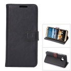 MO.MAT Luxury PU Leather Wallet Case w/ Card Slot / Stand for HTC M9 - Black