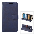 MO.MAT Luxury PU Leather Wallet Case w/ Card Slot / Stand for HTC M9 - Blue