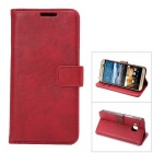 MO.MAT Luxury PU Leather Wallet Case w/ Card Slot / Stand for HTC M9 - Red