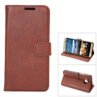 MO.MAT Luxury PU Leather Wallet Case w/ Card Slot / Stand for HTC M9 - Brown