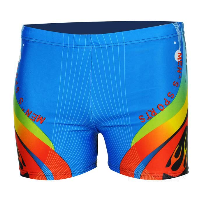 Fashion Polyester + Spandex / Lycra Swim Trunks for Men - Blue