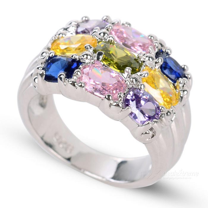 Women's Fashionable Colorful Zircon Studded Silver-Plated Ring - Silver + Multi-Color (US Size: 7)