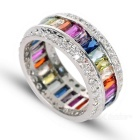 Women's Cool Colorful Zircon Studded Silver-Plated Ring - Silver + Multi-Color (US Size: 7)