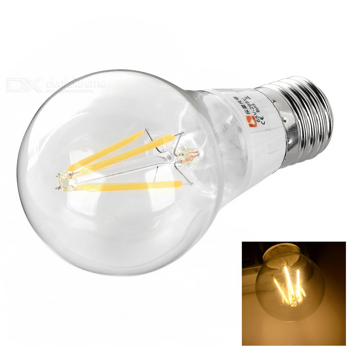 LeXing Lighting E27 4W 3500K 320lm Warm White Filament Bulb (85~265V)E27<br>Form  ColorWhite + Orange + Multi-ColoredColor BINWarm WhiteMaterialPlastic + glassQuantity1 DX.PCM.Model.AttributeModel.UnitPowerOthers,3.5~4WRated VoltageAC 85-265 DX.PCM.Model.AttributeModel.UnitConnector TypeE27Emitter TypeOthers,LED filamentTotal Emitters4Theoretical Lumens350~400 DX.PCM.Model.AttributeModel.UnitActual Lumens280~320 DX.PCM.Model.AttributeModel.UnitColor Temperature12000K,Others,2700~3500KDimmableNoBeam Angle270 DX.PCM.Model.AttributeModel.UnitOther FeaturesHigh brightness, energy saving and environmental protection.Packing List1 x LED filament bulb<br>