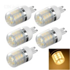 G9 3W LED Corn Lamps w/ Cover Warm White 240lm 3500K 24-5730 SMD - White (5 PCS / AC 220~240V)