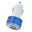 Universal 5V 1A/2.1A Dual-Port USB Car Cigarette Lighter Power Charger Adapter - White + Blue