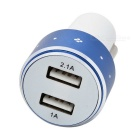 Universal 5V 1A/2.1A Dual USB Car Charger Adapter - White + Blue