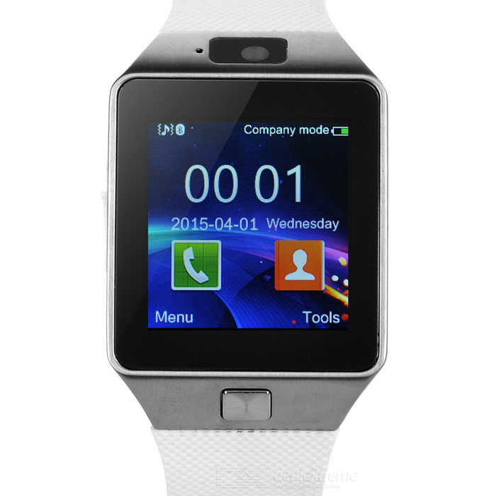 DZ09 Bluetooth Smart Wrist Watch w/ SIM Slot, Pedometer - White + GreySmart Watches<br>Form  ColorWhite + Silver Grey + Multi-ColoredModelDZ09Quantity1 setShade Of ColorWhiteWater-proofNoBluetooth VersionBluetooth V3.0Touch Screen TypeCapacitive ScreenCompatible OSAndroidBattery Capacity380 mAhBattery TypeLi-polymer batteryStandby Time160 hourCPU ProcessorMTK6261Screen Resolution240 x 240 pixelsNetwork Type2GCellularGSMSIM Card TypeMicro SIMLanguageEnglish, French, Polish, Portuguese, Italian, German, Vietnamese, ArabicWristband Length24.5 cmBattery ModeNon-removableScreen Size1.48 inchPacking List1 x Watch1 x Data cable (20cm)1 x Chinese / English manual<br>