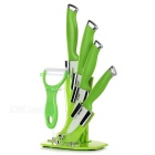 TIMHOME KITCHENWARE U TJC-018 6-in-1 Ceramic Knives + Peeler + Holder Stand - White + Green