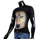 Lion Pattern Cotton Short-Sleeve T-shirt - Black (M)