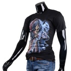 Skeleton Holding Two Guns Pattern Cotton Short-Sleeve T-shirt - Black (M)