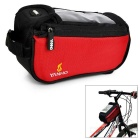 YANHO Bicycle Bike Nylon Top Tube Touch Screen Bag for GPS / Cellphone - Black + Red (1.5L)